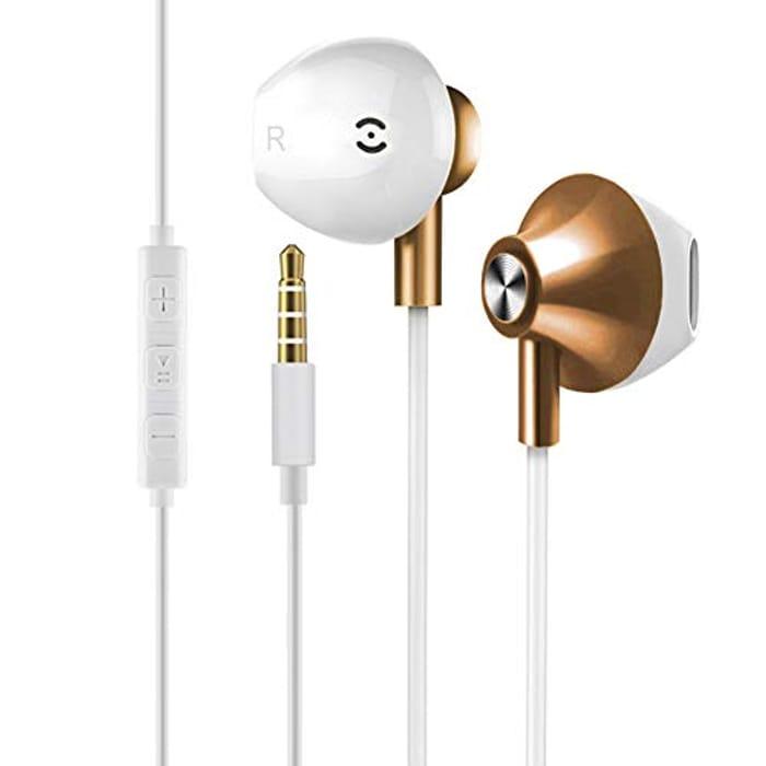 YCKJ Earphones with Microphone 3.5mm Jack - Golden