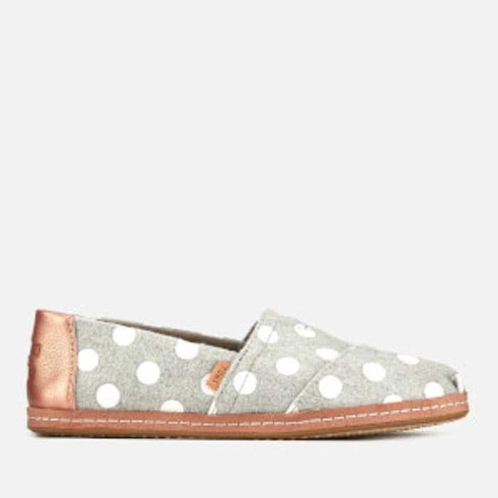 TOMS Women's Dots Alpargata Espadrilles - Drizzle Grey Size 3
