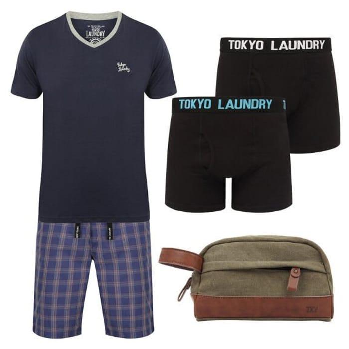 Tokyo Laundry Men's Lounge Wear Bundle & Wash Bag - £20