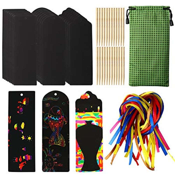 Kids Rainbow Scratch Bookmark & Tag Set (24 Pieces)