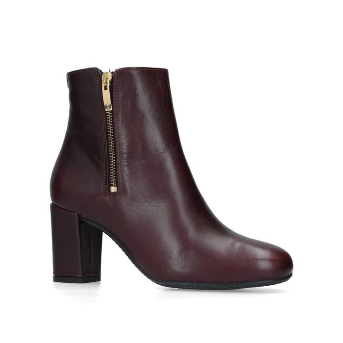 Carvela Comfort - Wine 'Rail' Leather Heeled Ankle Boots