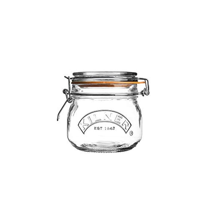 Kilner 102066537 0025.490 Clip Top round Storage Jar, Glass, 0.5 L