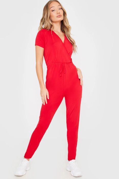 Red Jersey Wrap Front Jumpsuit, Only £8.00!