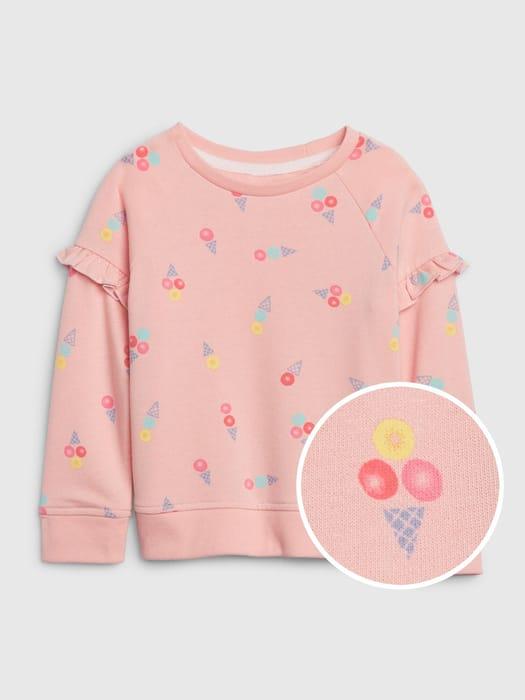 Toddler Print Ruffle Crewneck Sweatshirt Size 2Y