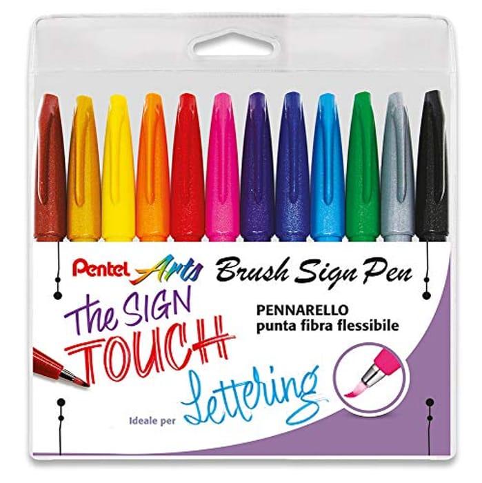 Pentel Brush Sign Pen 10 Pieces Taschina 12 Colori ass.ti
