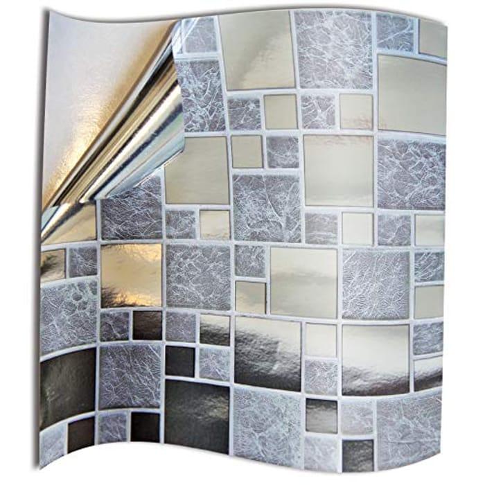 Best Price! 24pc Silver Chrome Kitchen Bathroom Tile Stickers