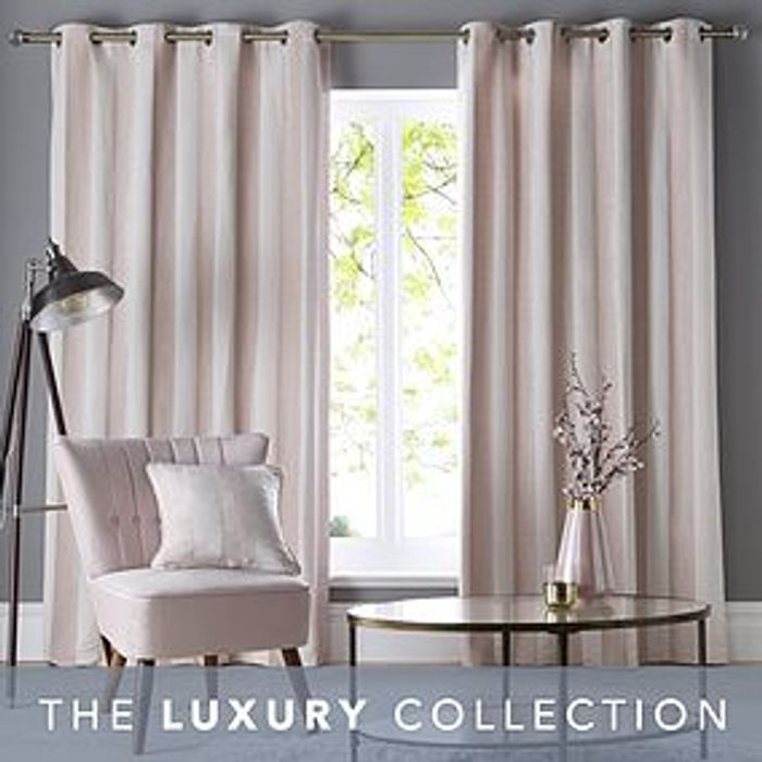 Parker Blush Chenile Eyelet Curtains