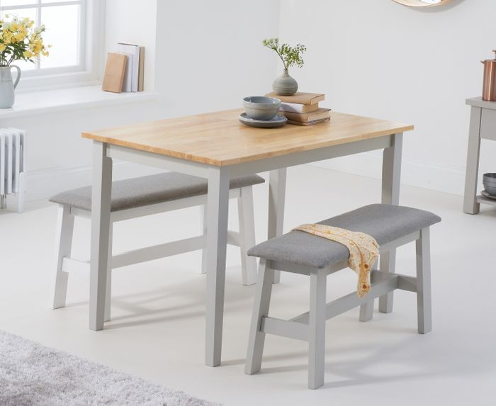 Chiltern 114cm Oak and Grey Table with Fabric Benches