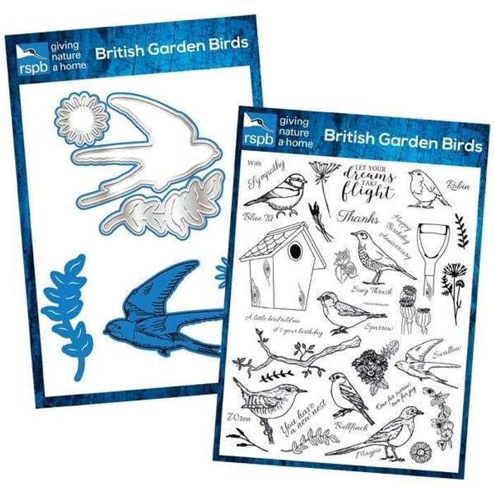 Rspb British Garden Birds A6 Die & A4 Stamp Bundle