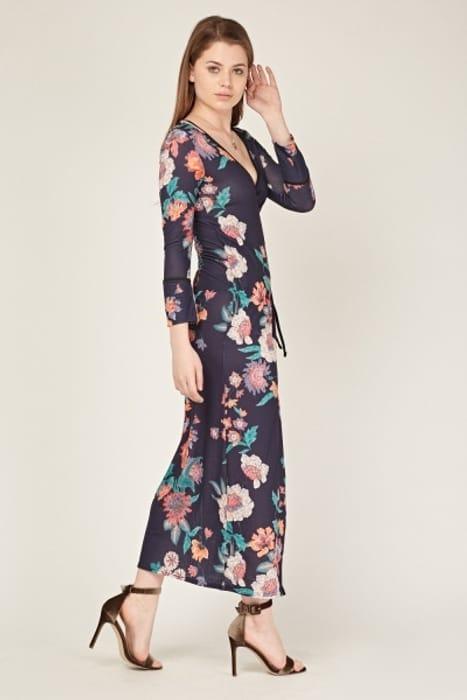 Best Price! Floral Wrap Maxi Dress
