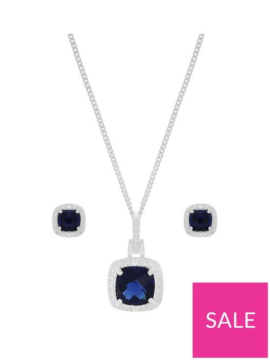 Sterling Silver CZ Necklace and Earrings Set - Save £13