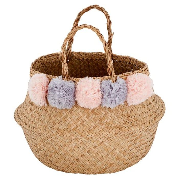 Tesco Seagrass Storage Basket Pompom HALF PRICE