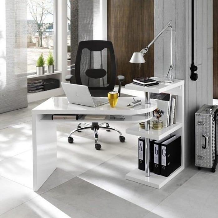 Sydney Rotating Office Desk in High Gloss White