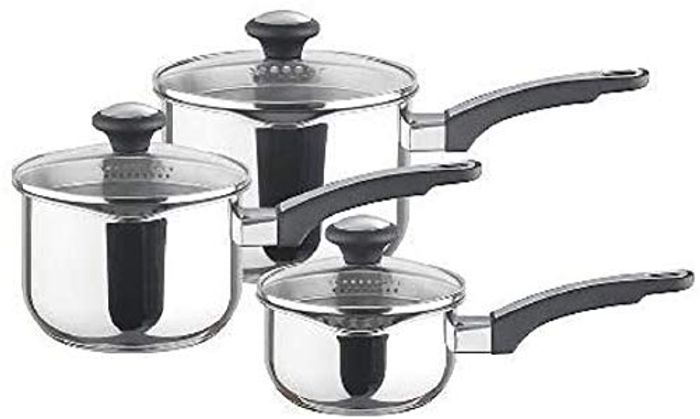Prestige - Everyday - 3pc Saucepan Set with Lids - Stainless Steel