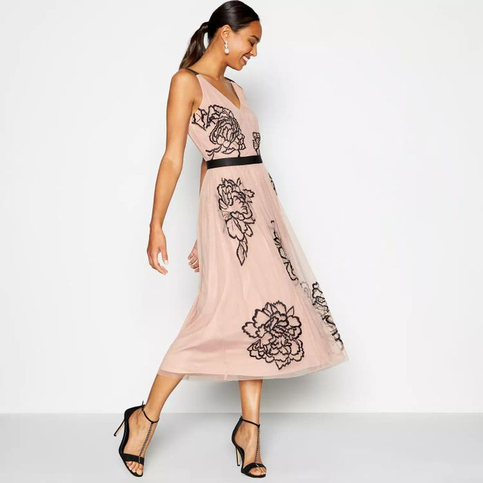Debut - Light Pink Embroidered Tulle Midi Dress ( Size 10 )