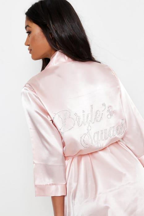 Diamante Brides Squad Satin Robe