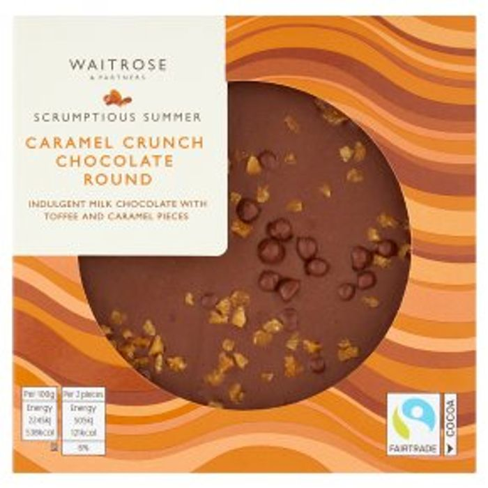 Waitrose Caramel Crunch Chocolate Round90g on Sale From £2.99 to £2.24