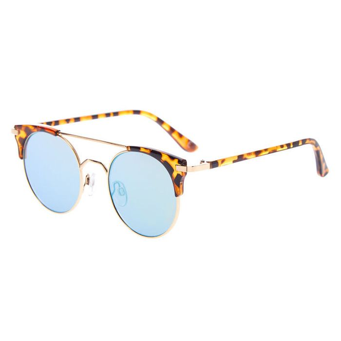 Round Aviator Tortoiseshell Sunglasses - Brown