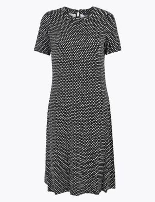 Jersey Printed Knee Length Dress