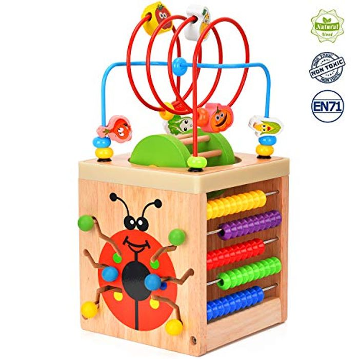 Wesimplelife Wooden Activity Cube 6 in 1 Activity Center
