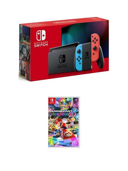 Nintendo Switch Console with Mario Kart 8 Deluxe (Grey or Neon)