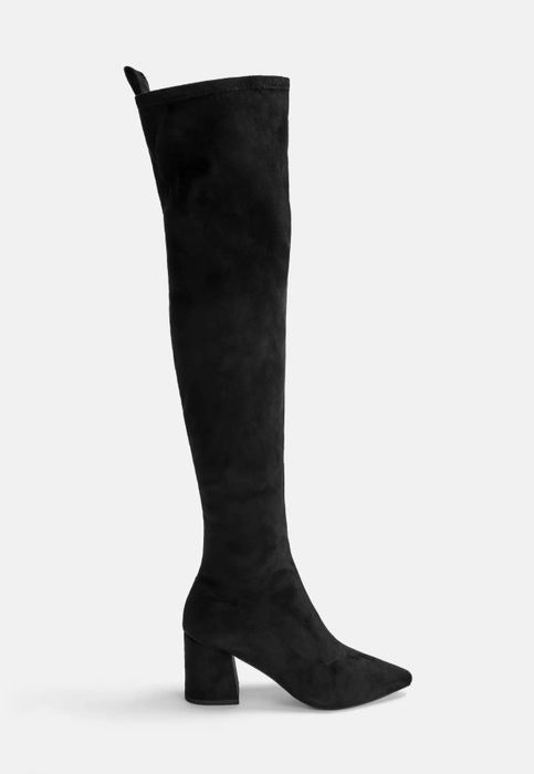 Black mid Heel Faux Suede over the Knee Boots £12 off at Missguided