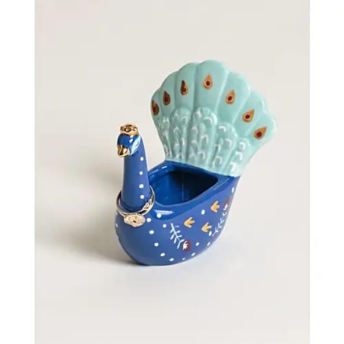 Peacock Blue Ceramic Ring Holder, Only £3.50!