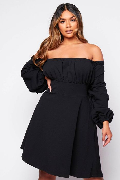 Plus+ Black Bardot Mini Dress