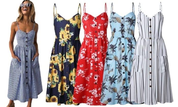Pattern Buttoned Summer Dress