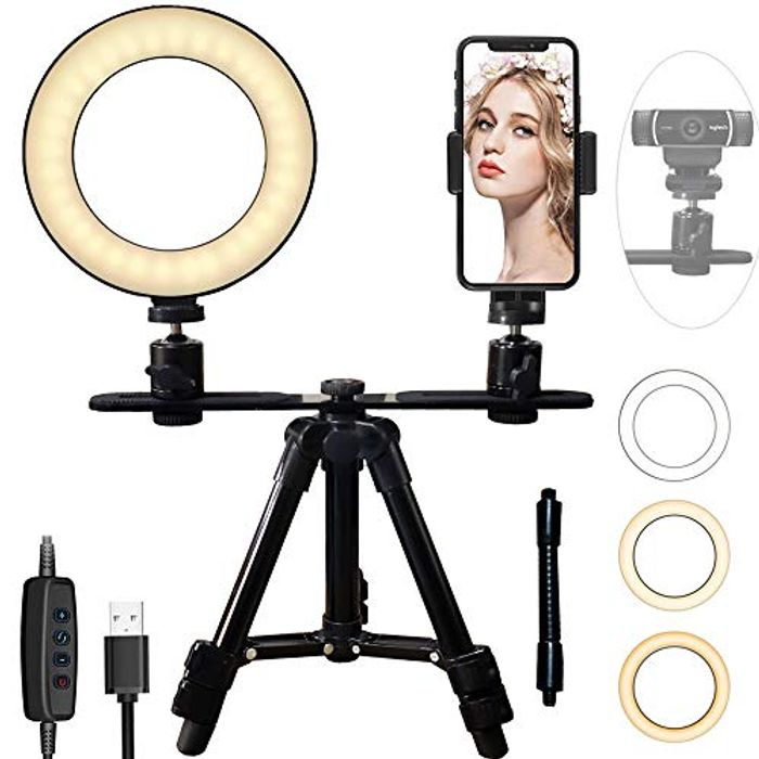 """6"""" Ring Light Webcam Stand Phone Holder with 17-52cm Tripod"""
