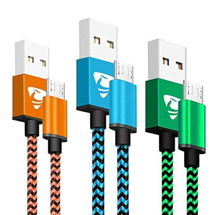 Micro USB Cable 2M 3Pack Aione Android Charger Cable