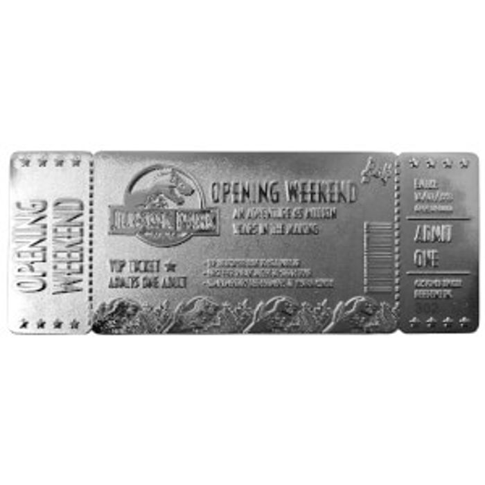 Jurassic Park Silver Plated Entrance Ticket Replica - Limited Edition