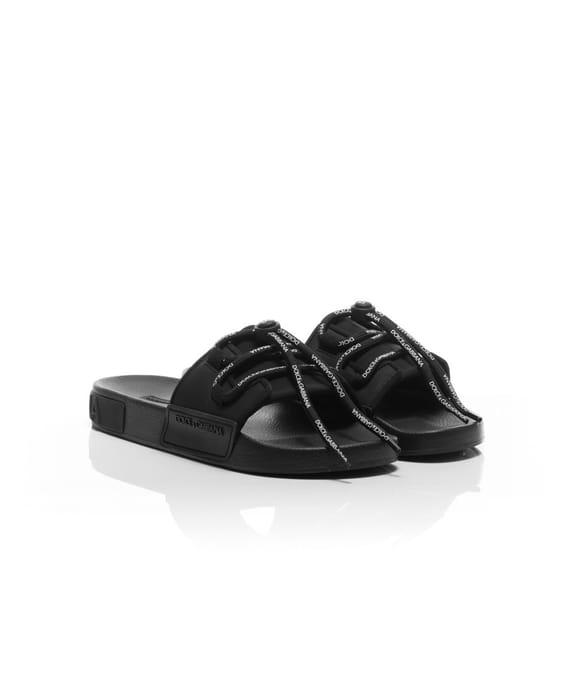 Real Dolce & Gabbana - Lace Front Pool Slider - Black - Only Size 10 Left!