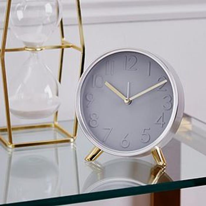 Chrome 15cm Table Clock Silver