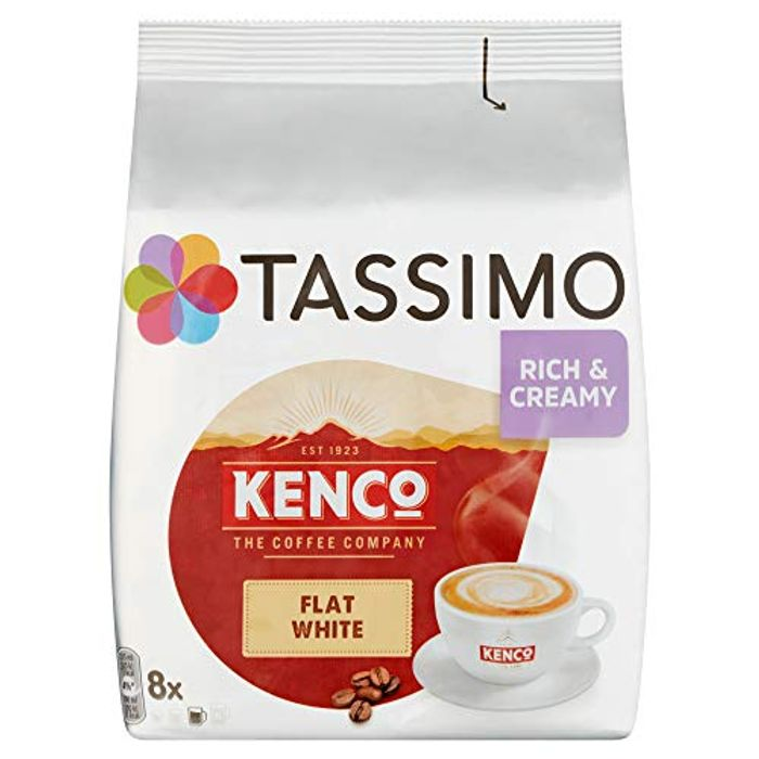 Tassimo Kenco Flat White Coffee Pods (Pack of 5, Total 80 Pods, 40 Servings)