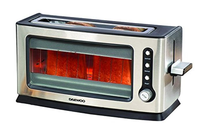 Daewoo 2 Slice Transparent Glass Kitchen Toaster See through