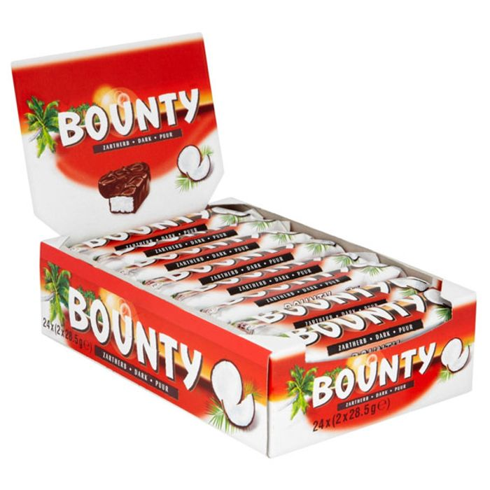 24 X Dark Bounty Red 57g Twin Chocolate Bars