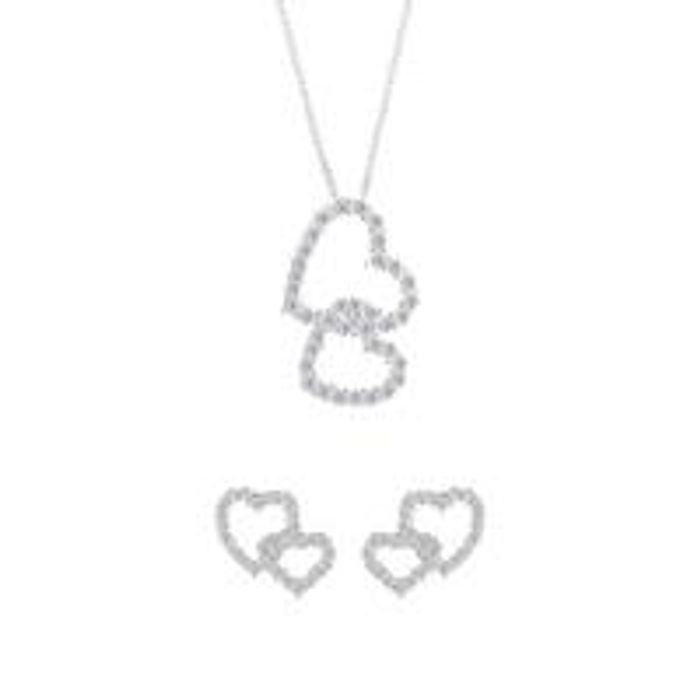 Sterling Silver CZ Hearts Necklace and Earrings Set - Save £7