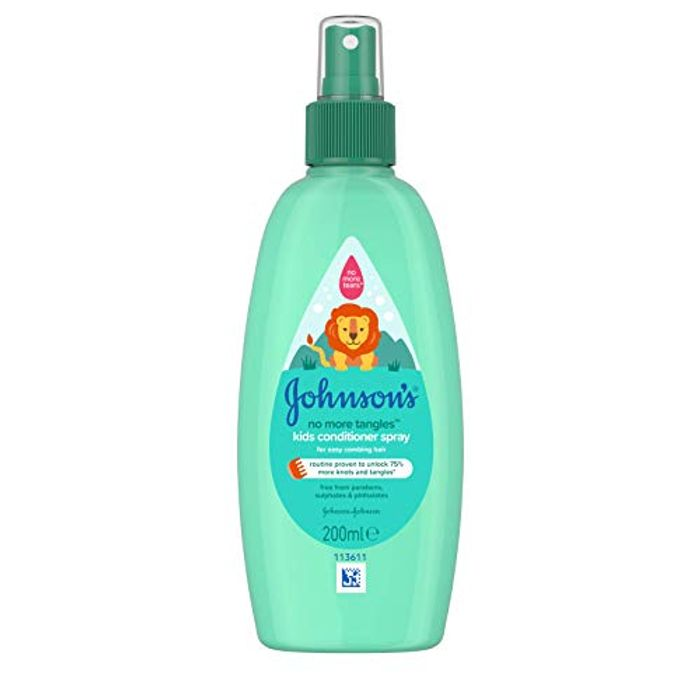 JOHNSON'S No More Tangles Kids Conditioner Spray 200ml (pH Balanced).