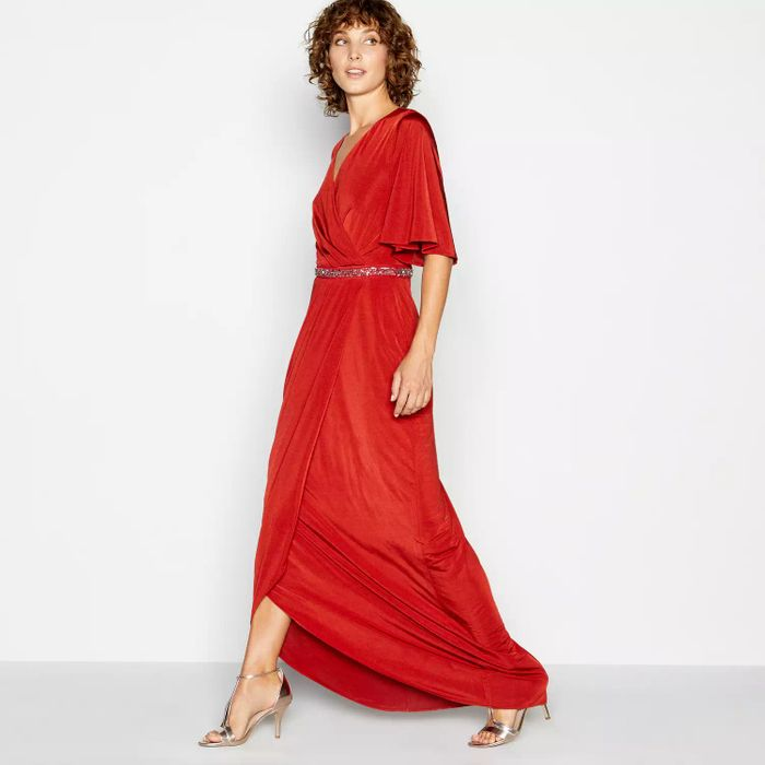 No. 1 Jenny Packham - Red Brick Jersey 'Melissa' Maxi Dress Free Delivery
