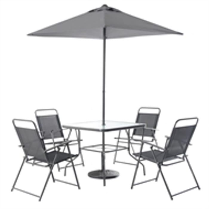 Quebec Metal 4 Seater Square Garden Furniture Set in Grey