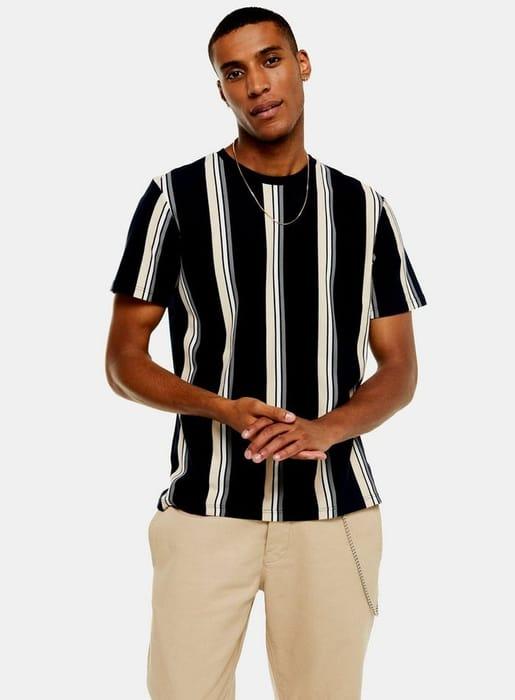 Navy and Tan Stripe T-Shirt