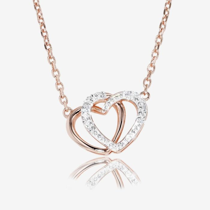 Swarovski Crystals Rose Gold Finish Double Heart Necklace