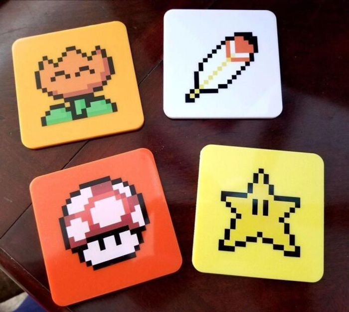 Pack of 4 Super Mario Power up Coasters FREE DELIVERY with Code