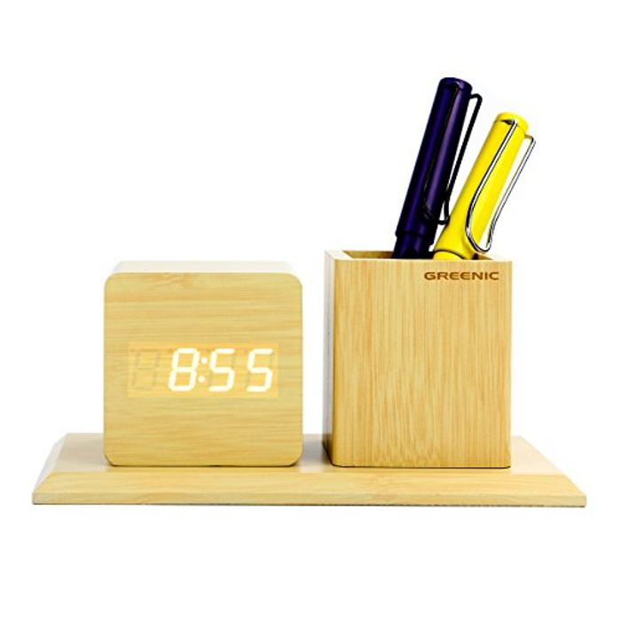 Deal Stack! Greenic LED Wooden Desk Alarm Clock