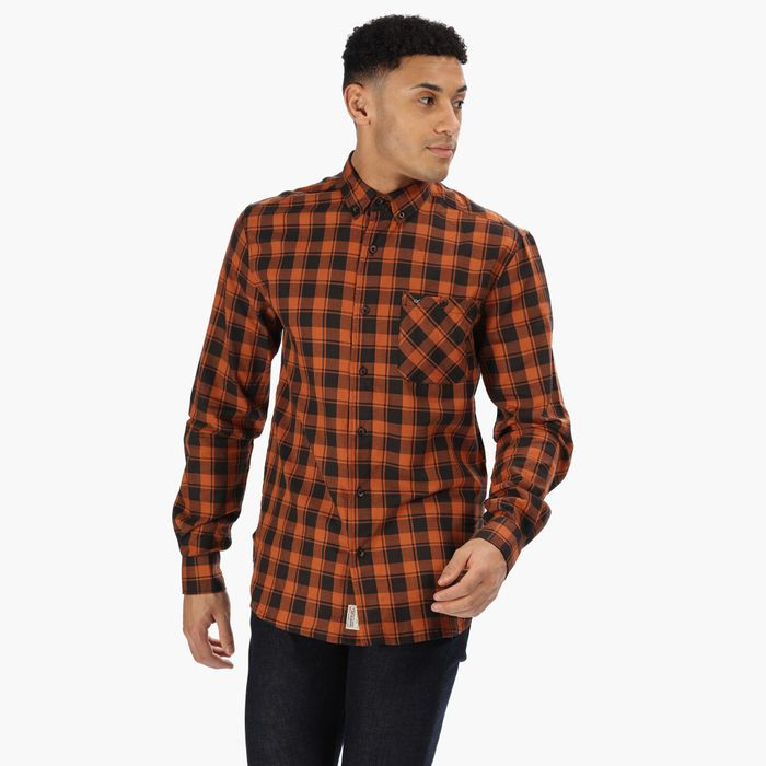 Special Offer! Regatta - Brown 'Lazare' Cheqeud Cotton Long Sleeves Shirt
