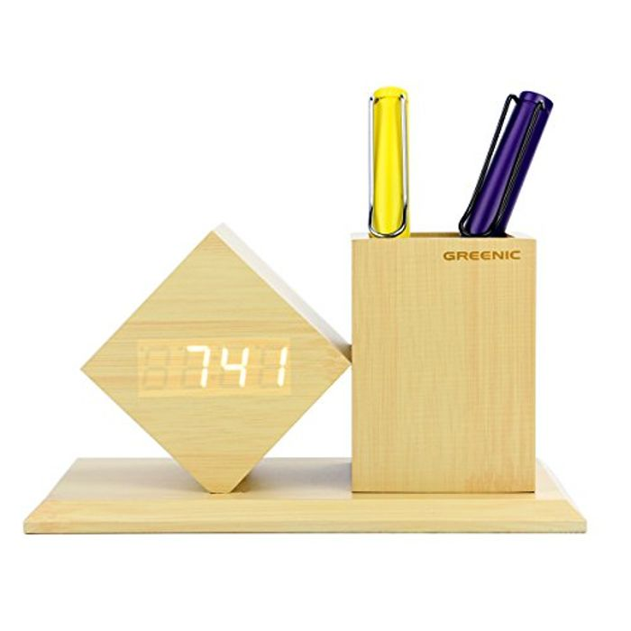 Deal Stack! Greenic LED Digital Wooden Desk Alarm Clock (Diamond)