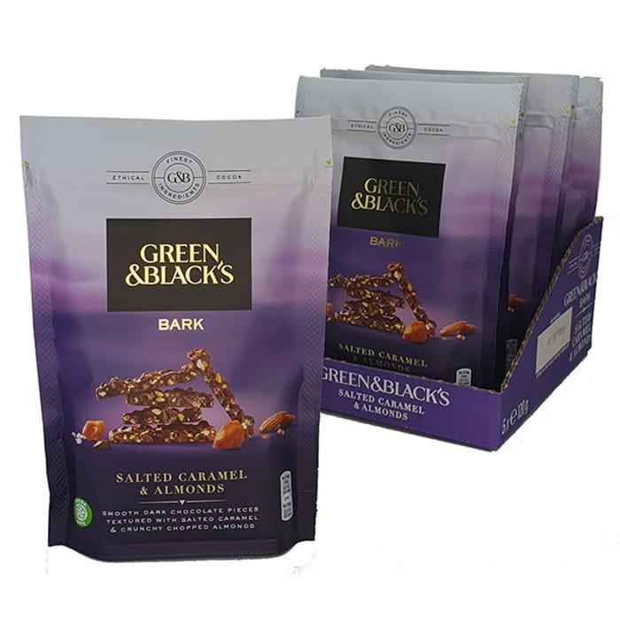 6 X Green & Blacks Salted Caramel & Almonds Dark Chocolate 120g Bags