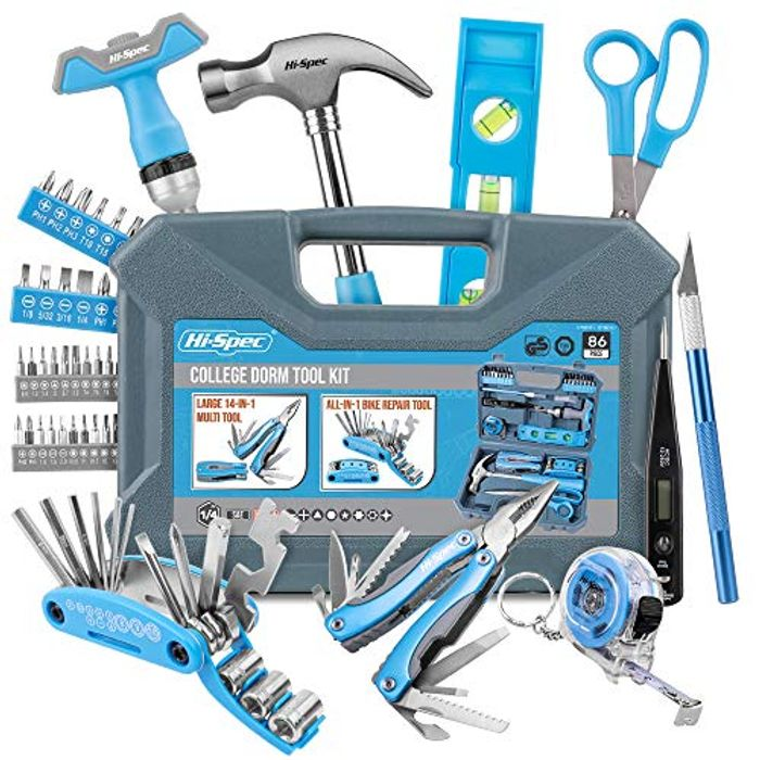 Hi-Spec 86 Piece Starters DIY Tool Kit with 2 All-Purpose Multi-Tools.
