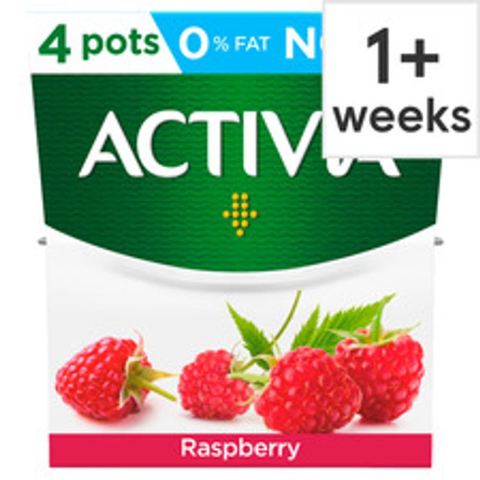 Activia Fat Free Raspberry Yogurt 4 X 120G
